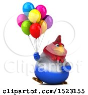Clipart Of A 3d Chubby French Chicken Holding Balloons On A White Background Royalty Free Illustration by Julos