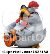 3d Chubby White Chicken Playing A Guitar On A White Background