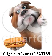 3d Bulldog Holding A Hot Dog On A White Background