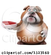 3d Bulldog Holding A Steak On A White Background