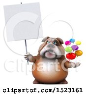 3d Bulldog Holding Messages On A White Background