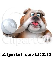 3d Bulldog Holding A Golf Ball On A White Background