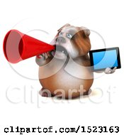 Clipart Of A 3d Bulldog Holding A Tablet On A White Background Royalty Free Illustration by Julos