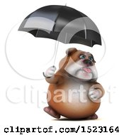 3d Bulldog Holding An Umbrella On A White Background