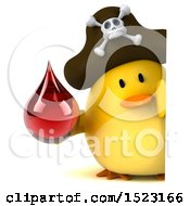 Clipart Of A 3d Yellow Bird Pirate Holding A Blood Drop On A White Background Royalty Free Illustration