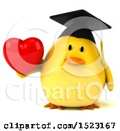 Clipart Of A 3d Yellow Bird Graduate Holding A Heart On A White Background Royalty Free Illustration