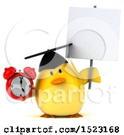 Clipart Of A 3d Yellow Bird Graduate Holding An Alarm Clock On A White Background Royalty Free Illustration