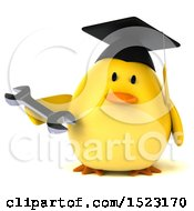 Clipart Of A 3d Yellow Bird Graduate Holding A Wrench On A White Background Royalty Free Illustration