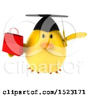 Clipart Of A 3d Yellow Bird Graduate Holding A Shopping Bag On A White Background Royalty Free Illustration