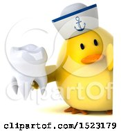 Clipart Of A 3d Yellow Bird Sailor Holding A Tooth On A White Background Royalty Free Illustration