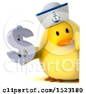 Clipart Of A 3d Yellow Bird Sailor Holding A Dollar Sign On A White Background Royalty Free Illustration