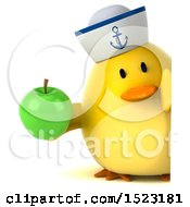 Clipart Of A 3d Yellow Bird Sailor Holding An Apple On A White Background Royalty Free Illustration