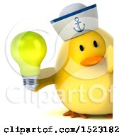 Clipart Of A 3d Yellow Bird Sailor Holding A Light Bulb On A White Background Royalty Free Illustration