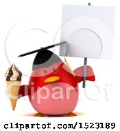 Clipart Of A 3d Chubby Red Bird Graduate Holding A Waffle Cone On A White Background Royalty Free Illustration