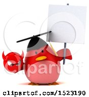 Clipart Of A 3d Chubby Red Bird Graduate Holding A Devil On A White Background Royalty Free Illustration