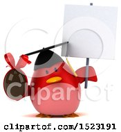 Clipart Of A 3d Chubby Red Bird Graduate Holding A Chocolate Egg On A White Background Royalty Free Illustration