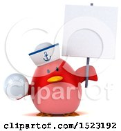 Clipart Of A 3d Chubby Red Bird Sailor Holding A Golf Ball On A White Background Royalty Free Illustration