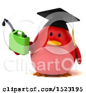 Clipart Of A 3d Chubby Red Bird Graduate Holding A Gas Can On A White Background Royalty Free Illustration