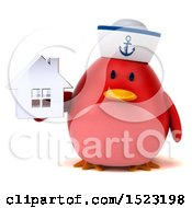 Clipart Of A 3d Chubby Red Bird Sailor Holding A House On A White Background Royalty Free Illustration