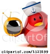 Clipart Of A 3d Chubby Red Bird Sailor Holding A Tv On A White Background Royalty Free Illustration