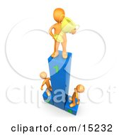 Successful Athlete Holding A Golden Trophy Cup And Standing On The First Place Spot On A Podium While The Two Runners Up Look Upwards In Admiration Clipart Illustration Graphic