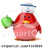 Clipart Of A 3d Chubby Red Bird Sailor Holding An Apple On A White Background Royalty Free Illustration