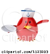 Clipart Of A 3d Chubby Red Bird Sailor Holding A Plate On A White Background Royalty Free Illustration