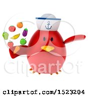 Clipart Of A 3d Chubby Red Bird Sailor Holding Produce On A White Background Royalty Free Illustration