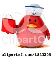 Clipart Of A 3d Chubby Red Bird Sailor Holding A Shopping Bag On A White Background Royalty Free Illustration