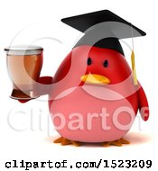 Clipart Of A 3d Chubby Red Bird Graduate Holding A Beer On A White Background Royalty Free Illustration