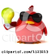 3d Chubby Red Bird Holding A Light Bulb On A White Background