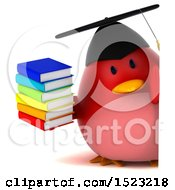 Clipart Of A 3d Chubby Red Bird Graduate Holding Books On A White Background Royalty Free Illustration