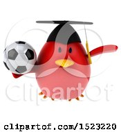 Clipart Of A 3d Chubby Red Bird Graduate Holding A Soccer Ball On A White Background Royalty Free Illustration
