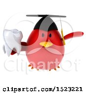 Clipart Of A 3d Chubby Red Bird Graduate Holding A Tooth On A White Background Royalty Free Illustration