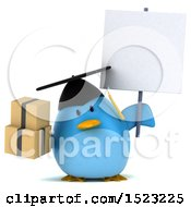 Clipart Of A 3d Chubby Blue Bird Graduate Holding Boxes On A White Background Royalty Free Illustration