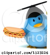 Clipart Of A 3d Chubby Blue Bird Graduate Holding A Hot Dog On A White Background Royalty Free Illustration