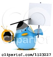Clipart Of A 3d Chubby Blue Bird Graduate Holding A Tv On A White Background Royalty Free Illustration