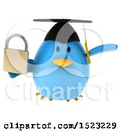 Clipart Of A 3d Chubby Blue Bird Graduate Holding A Padlock On A White Background Royalty Free Illustration