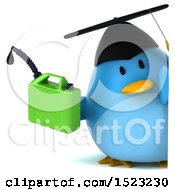 Clipart Of A 3d Chubby Blue Bird Graduate Holding A Gas Can On A White Background Royalty Free Illustration