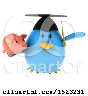 Clipart Of A 3d Chubby Blue Bird Graduate Holding A Piggy Bank On A White Background Royalty Free Illustration