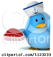 Clipart Of A 3d Chubby Blue Bird Sailor Holding A Steak On A White Background Royalty Free Illustration