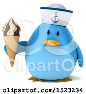 Clipart Of A 3d Chubby Blue Bird Sailor Holding A Waffle Cone On A White Background Royalty Free Illustration