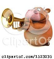 3d Brown Cow Playing A Trumpet On A White Background