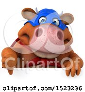 Clipart Of A 3d Brown Super Cow Holding A Thumb Down On A White Background Royalty Free Illustration by Julos