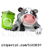 Clipart Of A 3d Holstein Cow Holding A Recycle Bin On A White Background Royalty Free Illustration by Julos