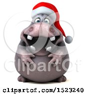 Clipart Of A 3d Christmas Hippo On A White Background Royalty Free Illustration by Julos