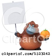 Clipart Of A 3d Orangutan Monkey Holding An Orange On A White Background Royalty Free Illustration by Julos