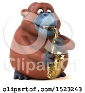 3d Orangutan Monkey Playing A Saxophone On A White Background