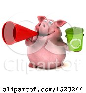 3d Chubby Pig Holding A Recycle Bin On A White Background