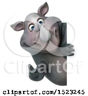 Clipart Of A 3d Reggie Rhinoceros Holding A Thumb Up On A White Background Royalty Free Illustration by Julos
